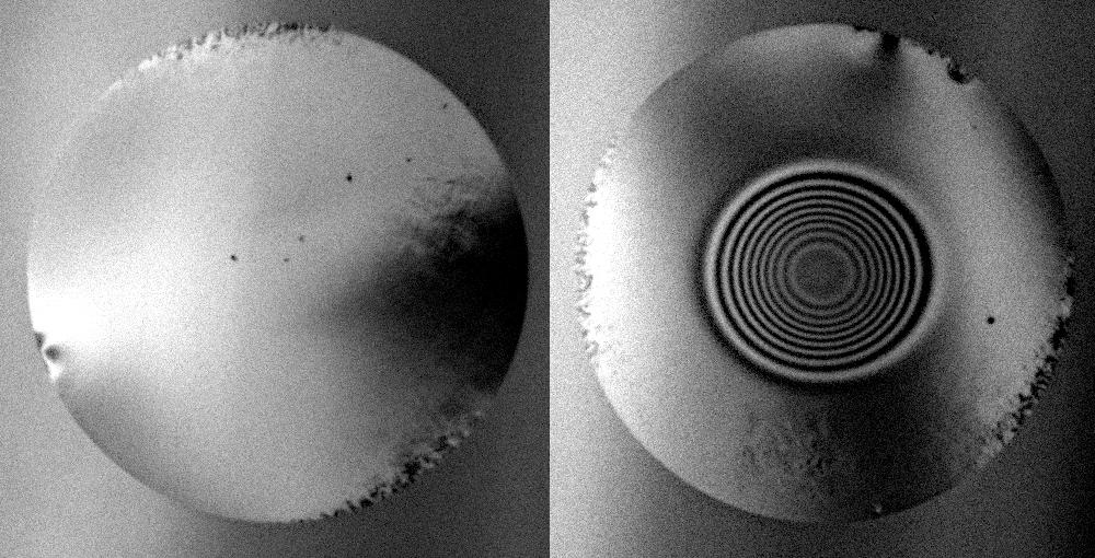 Faserendfläche vor und nach Bearbeitung
