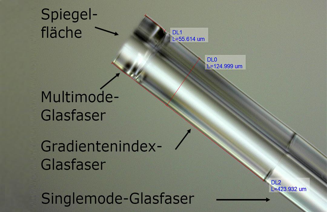 Stack of different fiber types spliced together