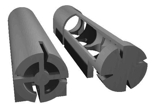 Design der dreidimensionalen Polymermasken zum Aufdampfen von Elektroden auf Glasfasern