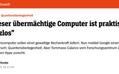Tommaso Calarco on Google's claim for quantum supremacy in DER SPIEGEL [Article in German]