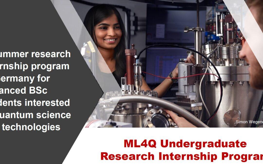 Call now open for ML4Q's undergraduate internship program 2022